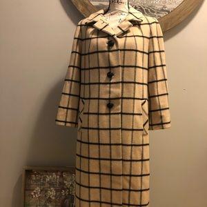 Vintage 1950s Cashmere Mink Plaid Coat